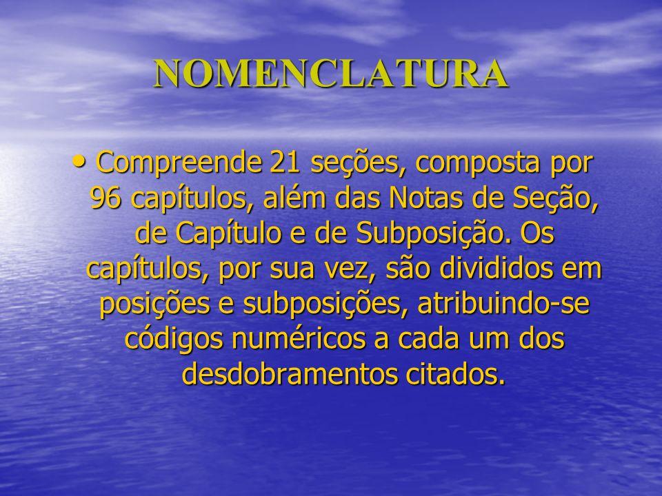 NOMENCLATURA Compreende 21 seções, composta por 96 capítulos, além das Notas de Seção, de Capítulo e de Subposição. Os capítulos, por sua vez, são div