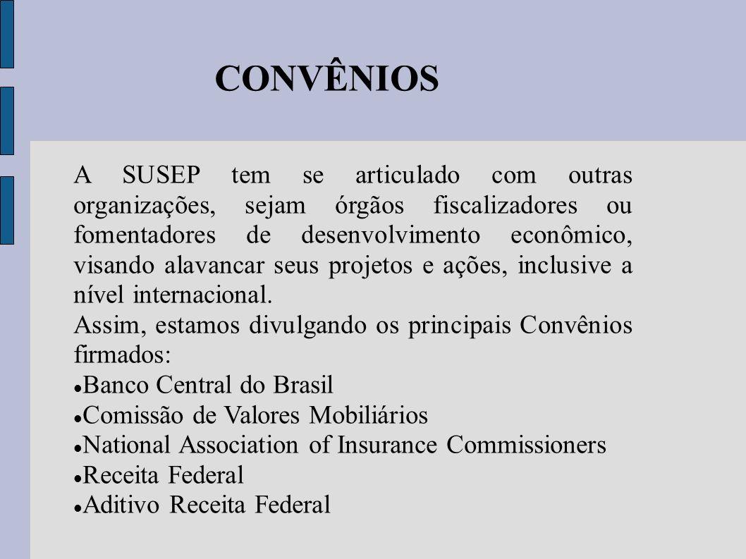 CONVÊNIOS A SUSEP tem se articulado com outras organizações, sejam órgãos fiscalizadores ou fomentadores de desenvolvimento econômico, visando alavanc