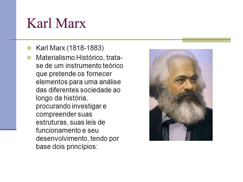 Karl Marx Karl Marx (1818-1883) Materialismo Histórico, trata- se de um instrumento teórico que pretende os fornecer elementos para uma análise das di