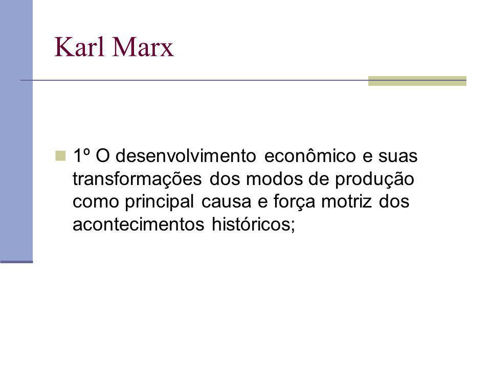 Karl Marx 1º O desenvolvimento econômico e suas transformações dos modos de produção como principal causa e força motriz dos acontecimentos históricos