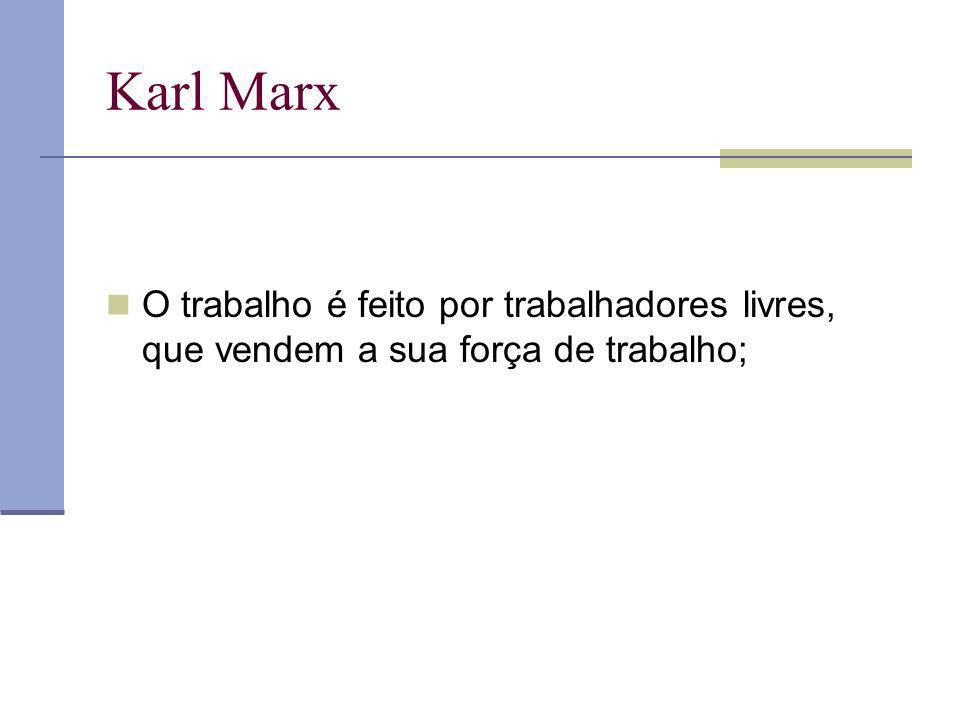Karl Marx O trabalho é feito por trabalhadores livres, que vendem a sua força de trabalho;