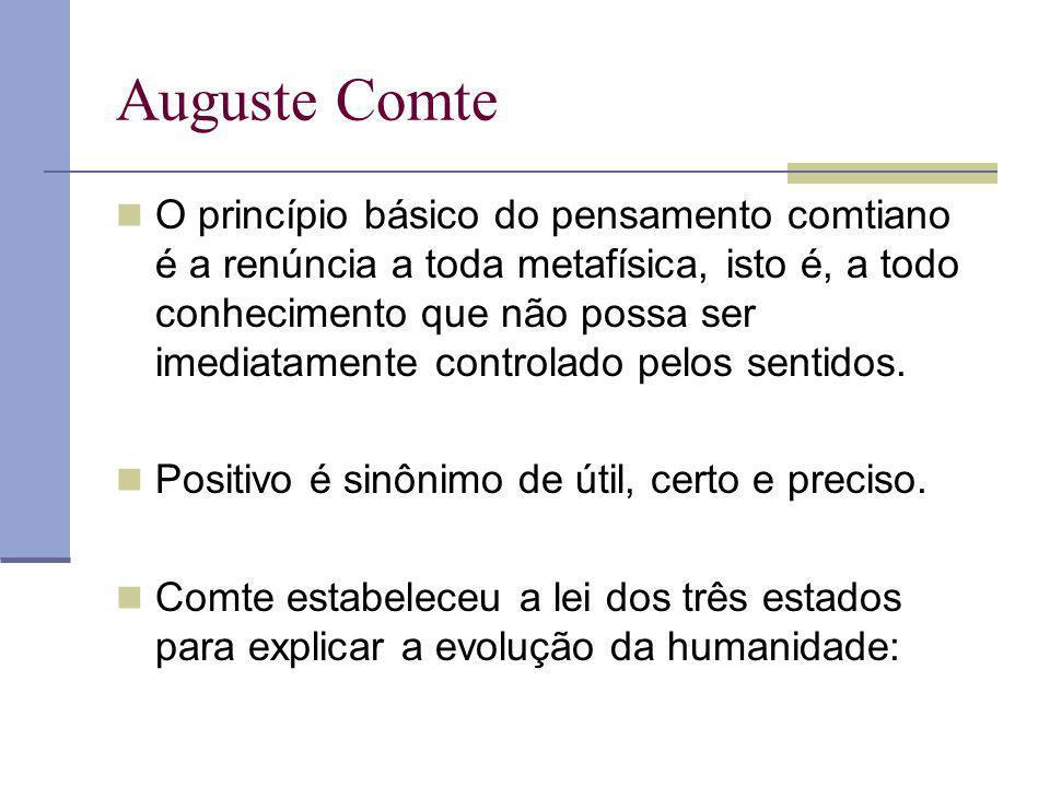 Auguste Comte O princípio básico do pensamento comtiano é a renúncia a toda metafísica, isto é, a todo conhecimento que não possa ser imediatamente co