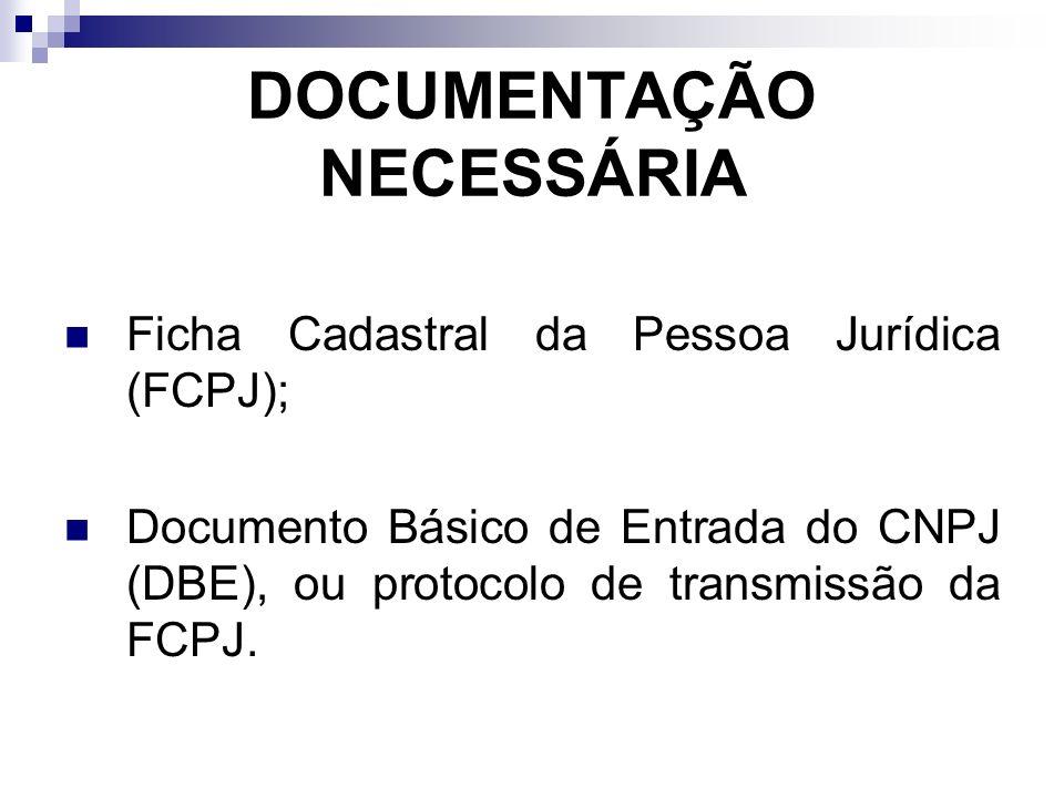 DOCUMENTAÇÃO NECESSÁRIA Ficha Cadastral da Pessoa Jurídica (FCPJ); Documento Básico de Entrada do CNPJ (DBE), ou protocolo de transmissão da FCPJ.