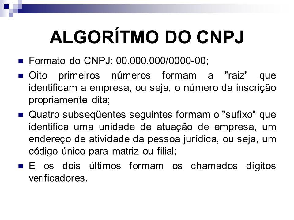 ALGORÍTMO DO CNPJ Formato do CNPJ: 00.000.000/0000-00; Oito primeiros números formam a