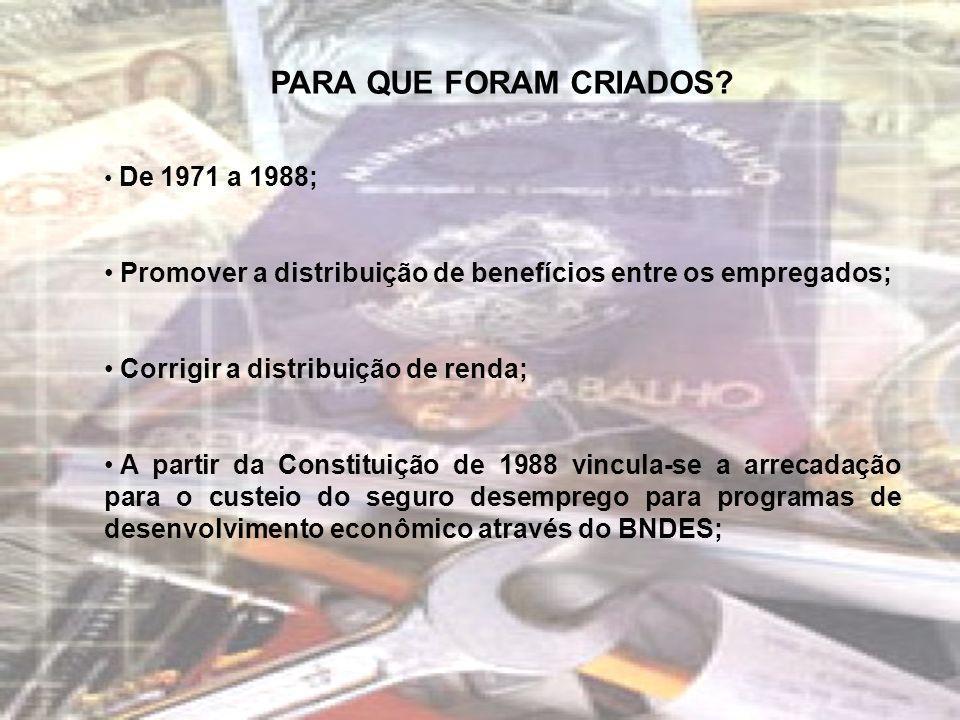 PARA QUE FORAM CRIADOS? De 1971 a 1988; Promover a distribuição de benefícios entre os empregados; Corrigir a distribuição de renda; A partir da Const