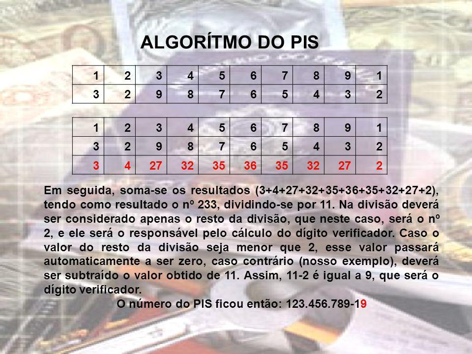 ALGORÍTMO DO PIS 1234567891 3298765432 1234567891 3298765432 34273235363532272 Em seguida, soma-se os resultados (3+4+27+32+35+36+35+32+27+2), tendo c