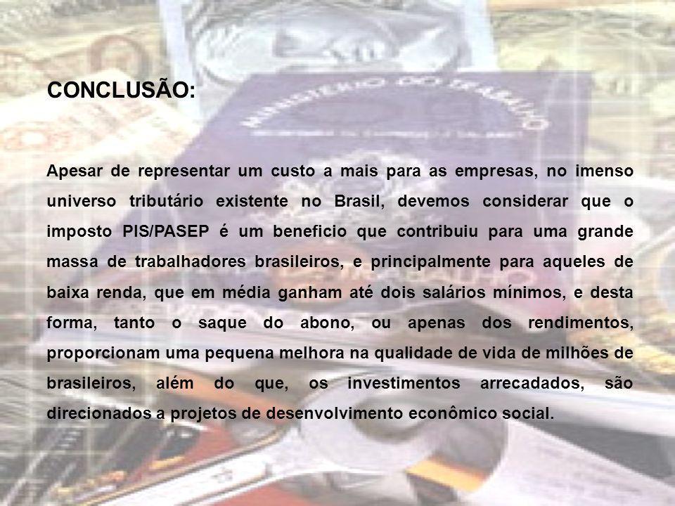 CONCLUSÃO: Apesar de representar um custo a mais para as empresas, no imenso universo tributário existente no Brasil, devemos considerar que o imposto