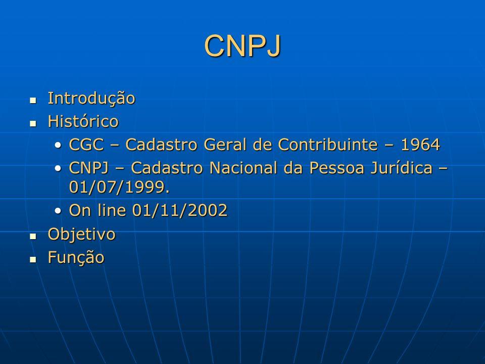 CNPJ Introdução Introdução Histórico Histórico CGC – Cadastro Geral de Contribuinte – 1964CGC – Cadastro Geral de Contribuinte – 1964 CNPJ – Cadastro