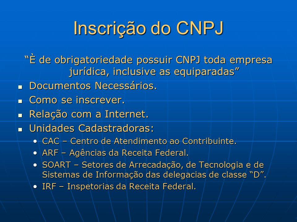 Inscrição do CNPJ È de obrigatoriedade possuir CNPJ toda empresa jurídica, inclusive as equiparadas Documentos Necessários. Documentos Necessários. Co
