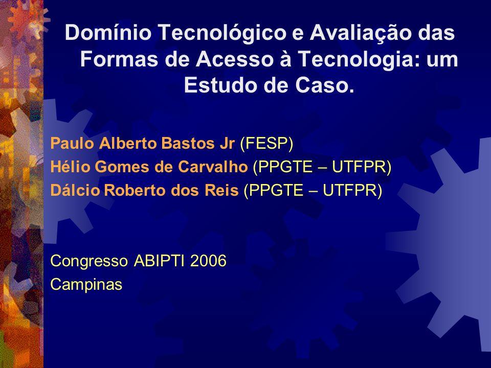 Domínio Tecnológico e Avaliação das Formas de Acesso à Tecnologia: um Estudo de Caso. Paulo Alberto Bastos Jr (FESP) Hélio Gomes de Carvalho (PPGTE –
