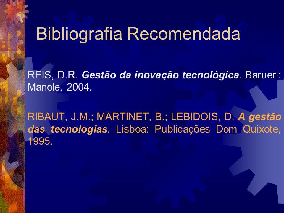 Bibliografia Recomendada REIS, D.R. Gestão da inovação tecnológica. Barueri: Manole, 2004. RIBAUT, J.M.; MARTINET, B.; LEBIDOIS, D. A gestão das tecno