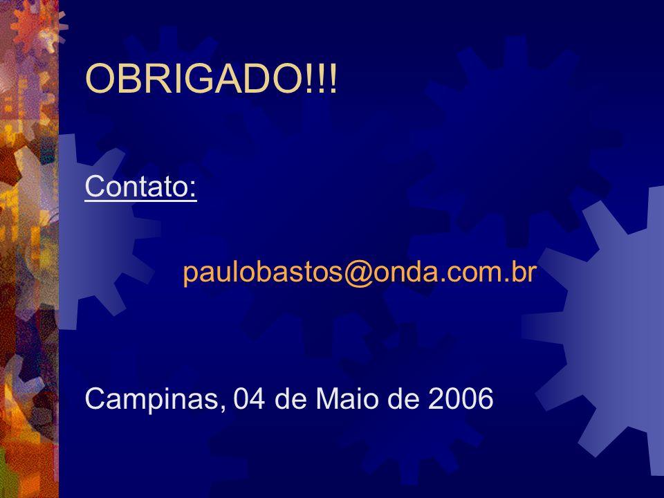OBRIGADO!!! Contato: paulobastos@onda.com.br Campinas, 04 de Maio de 2006