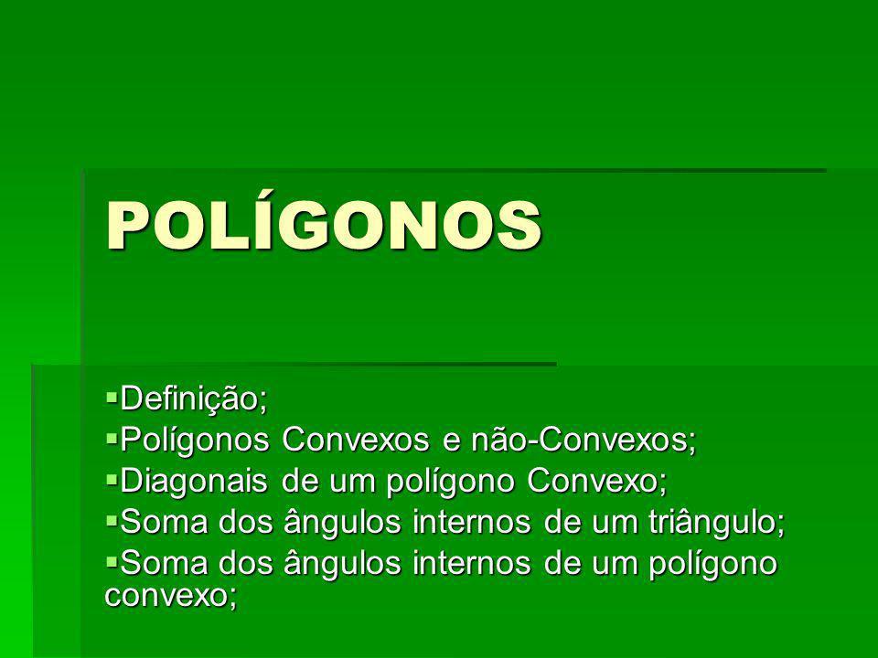POLÍGONOS Definição; Definição; Polígonos Convexos e não-Convexos; Polígonos Convexos e não-Convexos; Diagonais de um polígono Convexo; Diagonais de u