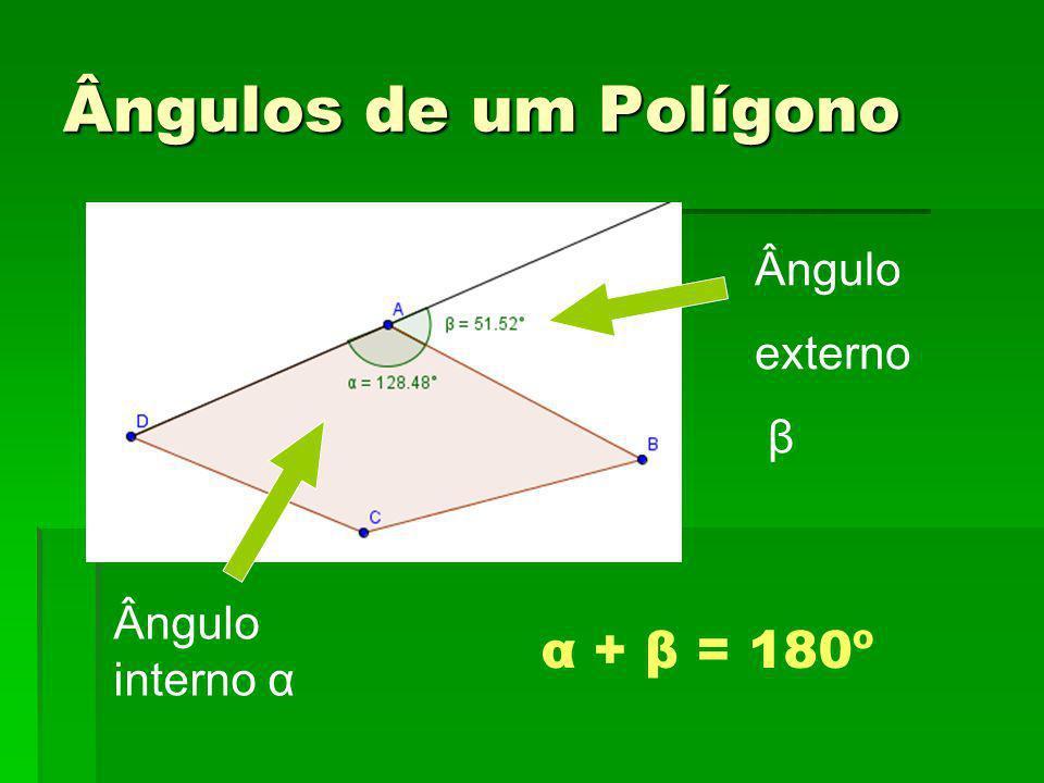 Ângulos de um Polígono Ângulo interno α Ângulo externo β α + β = 180º