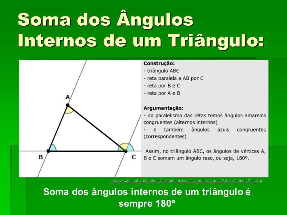 Soma dos Ângulos Internos de um Triângulo: Soma dos ângulos internos de um triângulo é sempre 180º http://www2.mat.ufrgs.br/edumatec/atividades_divers