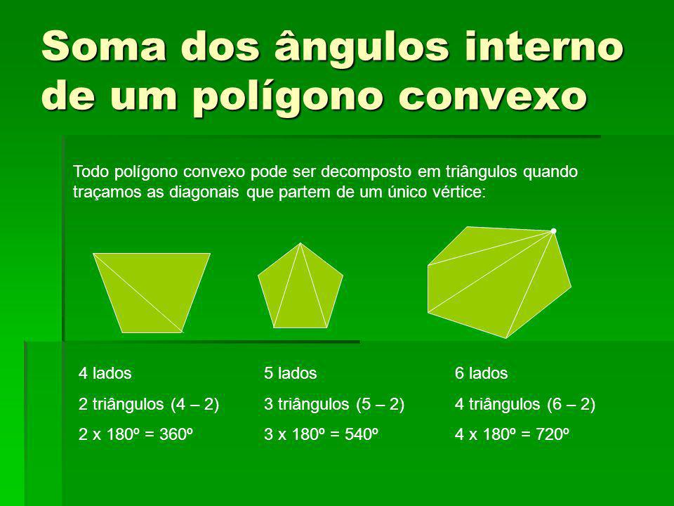 Soma dos ângulos interno de um polígono convexo Todo polígono convexo pode ser decomposto em triângulos quando traçamos as diagonais que partem de um