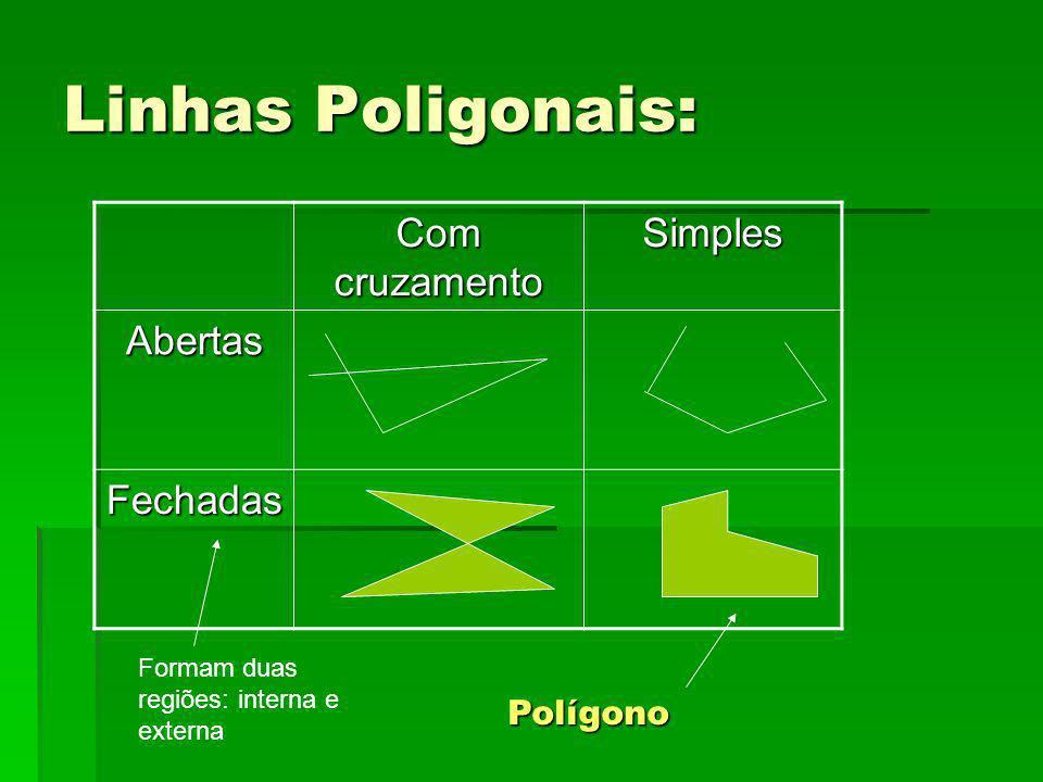Linhas Poligonais: Com cruzamento Simples Abertas Fechadas Formam duas regiões: interna e externa Polígono