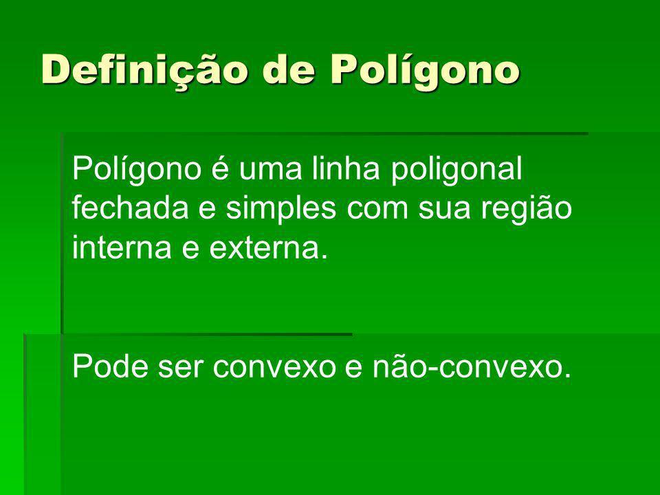 Definição de Polígono Polígono é uma linha poligonal fechada e simples com sua região interna e externa. Pode ser convexo e não-convexo.