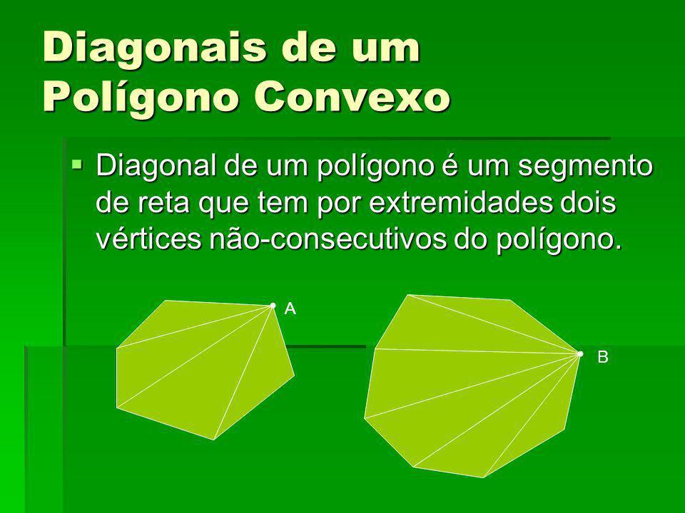 Diagonais de um Polígono Convexo Diagonal de um polígono é um segmento de reta que tem por extremidades dois vértices não-consecutivos do polígono. Di
