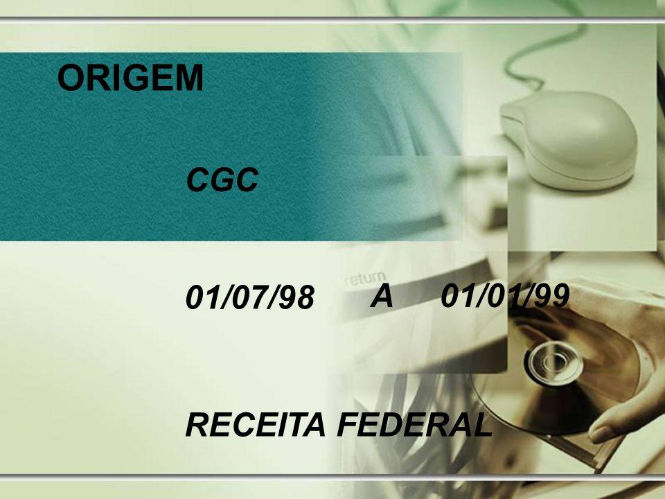 ORIGEM CGC 01/07/98 A 01/01/99 RECEITA FEDERAL