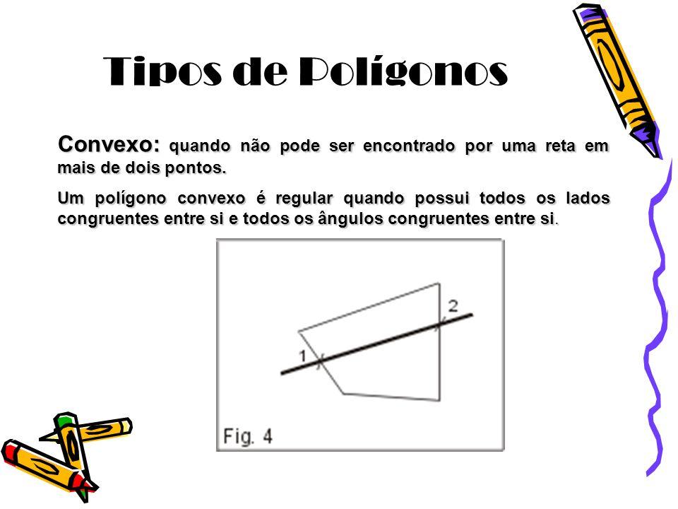 Tipos de Polígonos Convexo: quando não pode ser encontrado por uma reta em mais de dois pontos. Um polígono convexo é regular quando possui todos os l