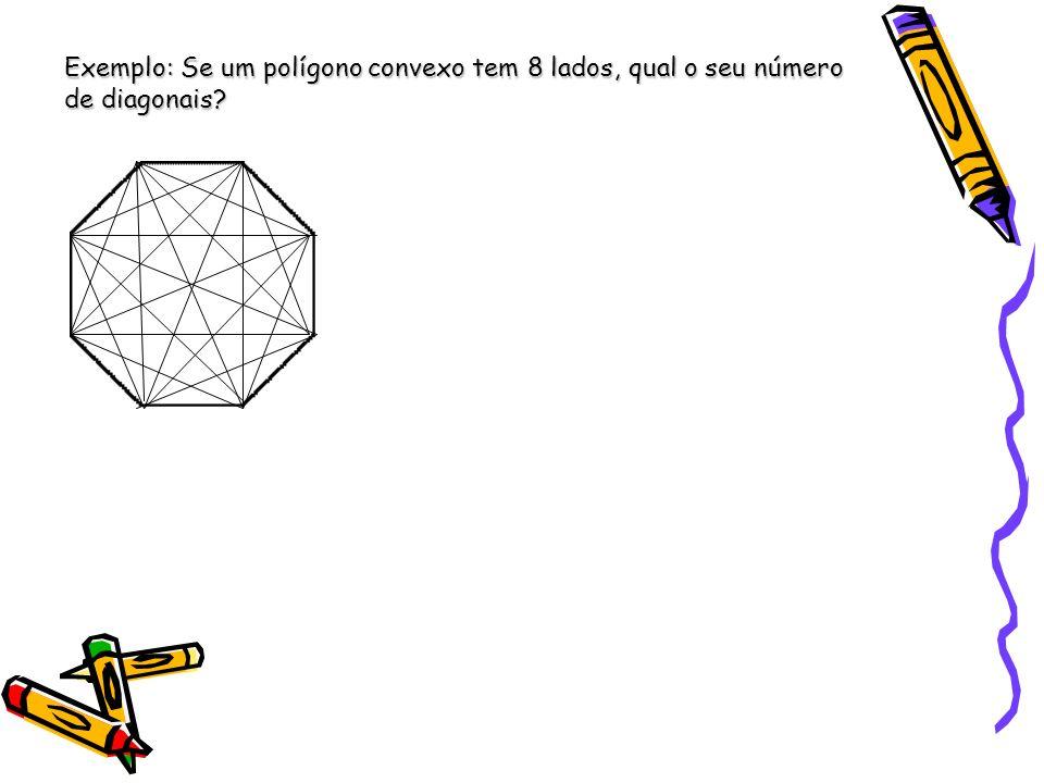 Exemplo: Se um polígono convexo tem 8 lados, qual o seu número de diagonais?