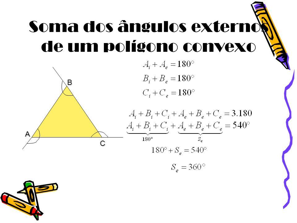 Soma dos ângulos externos de um polígono convexo A B C