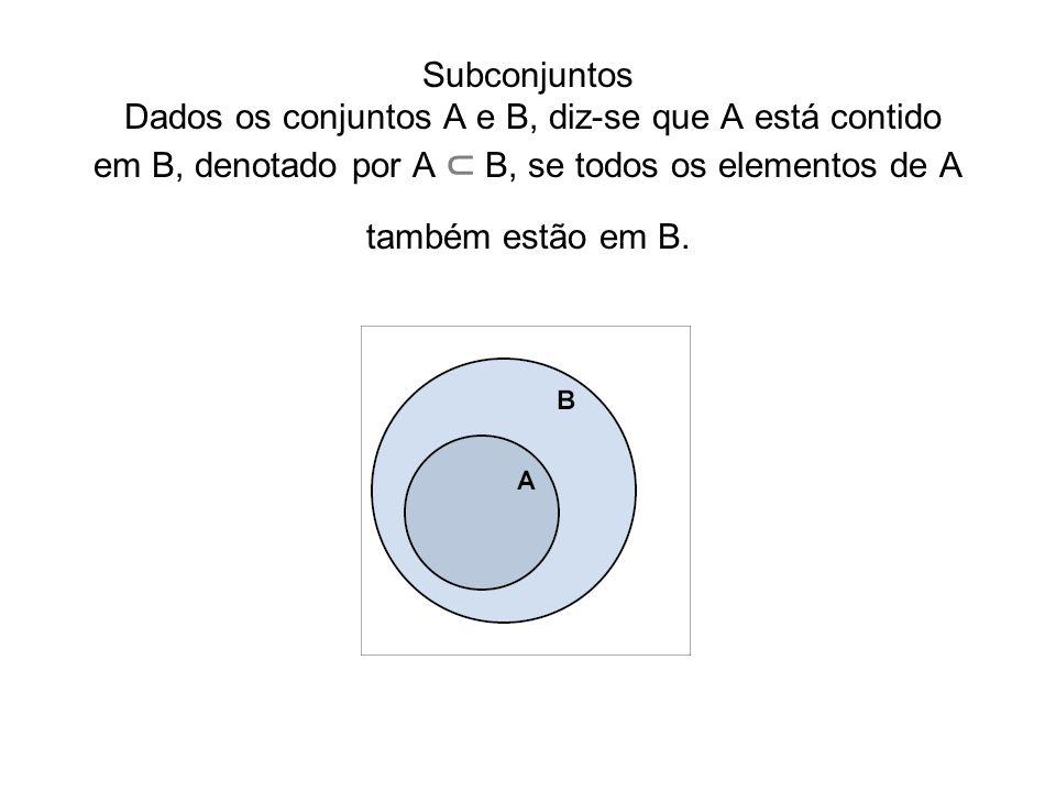 Complemento de um conjunto COMPLEMENTO DE UM CONJUNTO O complemento do conjunto B contido no conjunto A, denotado por C A B, é a diferença entre os conjuntos A e B, ou seja, é o conjunto de todos os elementos que pertencem ao conjunto A e não pertencem ao conjunto B.
