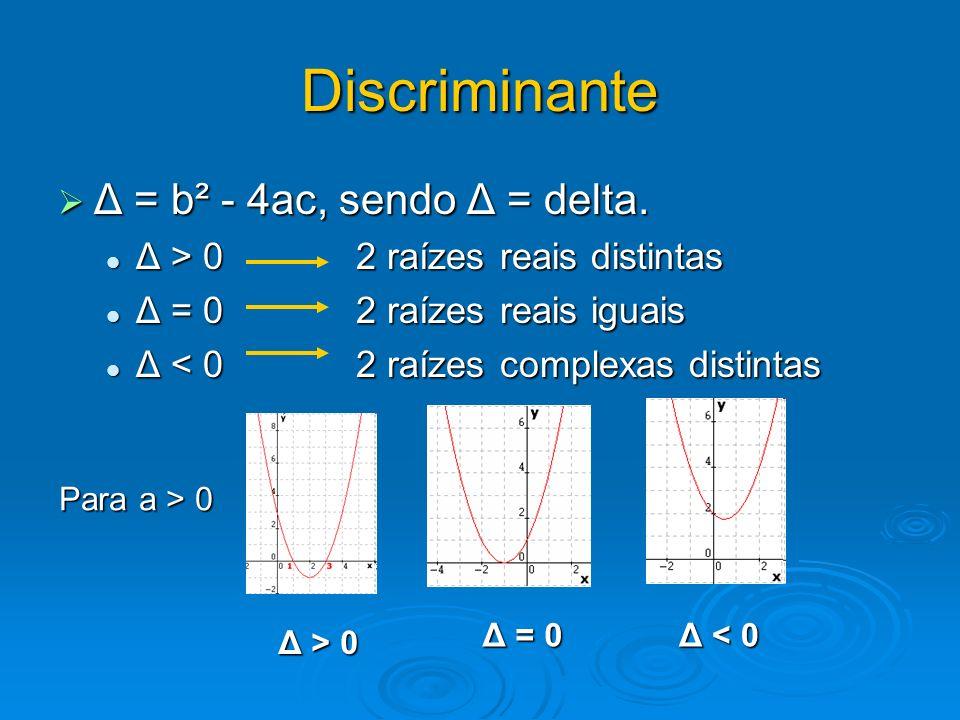 Discriminante Δ = b² - 4ac, sendo Δ = delta. Δ = b² - 4ac, sendo Δ = delta. Δ > 0 2 raízes reais distintas Δ > 0 2 raízes reais distintas Δ = 0 2 raíz