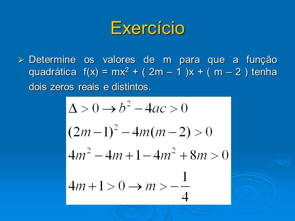 Exercício Determine os valores de m para que a função quadrática f(x) = mx 2 + ( 2m – 1 )x + ( m – 2 ) tenha dois zeros reais e distintos. Determine o