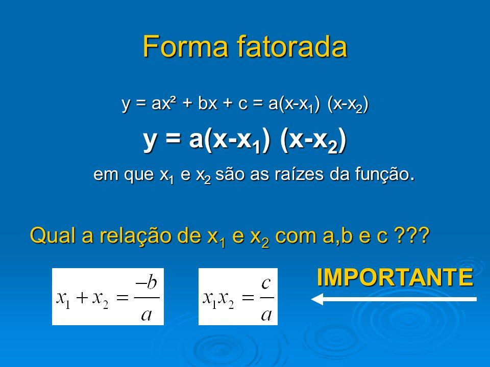 Forma fatorada y = ax² + bx + c = a(x-x1) (x-x2) y = a(x-x1) (x-x2) em que x1 e x2 são as raízes da função. Qual a relação de x1 e x2 com a,b e c ???