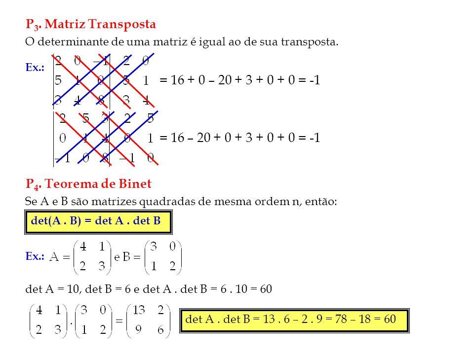 P 3.Matriz Transposta O determinante de uma matriz é igual ao de sua transposta.