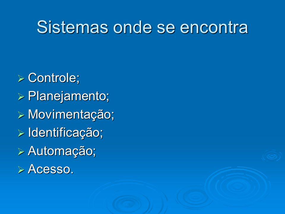 Sistemas onde se encontra Controle; Controle; Planejamento; Planejamento; Movimentação; Movimentação; Identificação; Identificação; Automação; Automaç