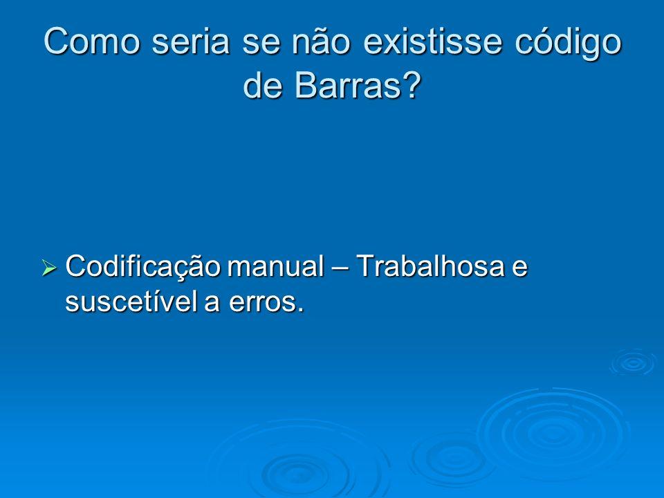 Como seria se não existisse código de Barras? Codificação manual – Trabalhosa e suscetível a erros. Codificação manual – Trabalhosa e suscetível a err