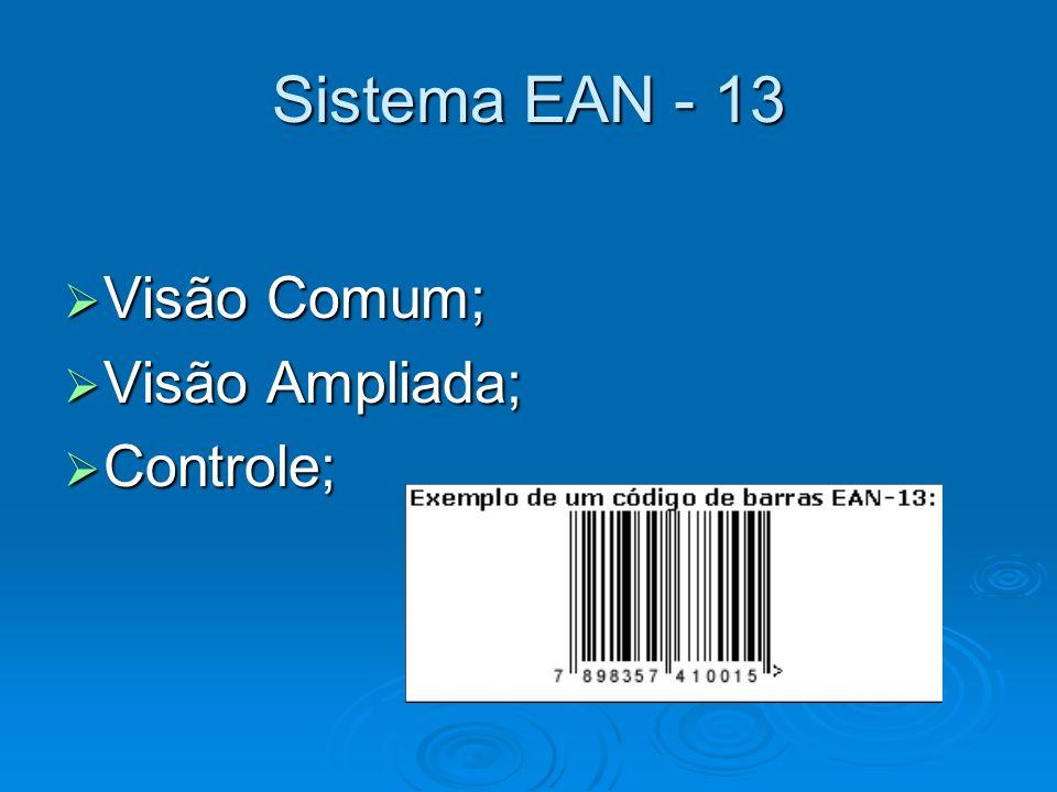 Sistema EAN - 13 Visão Comum; Visão Comum; Visão Ampliada; Visão Ampliada; Controle; Controle;