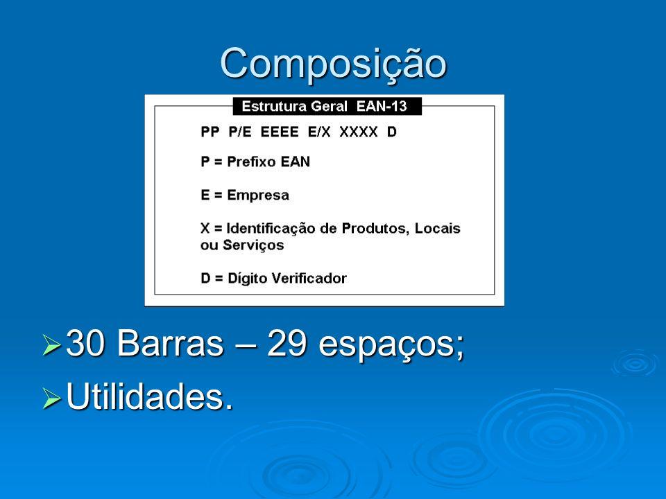 Composição 30 Barras – 29 espaços; 30 Barras – 29 espaços; Utilidades. Utilidades.