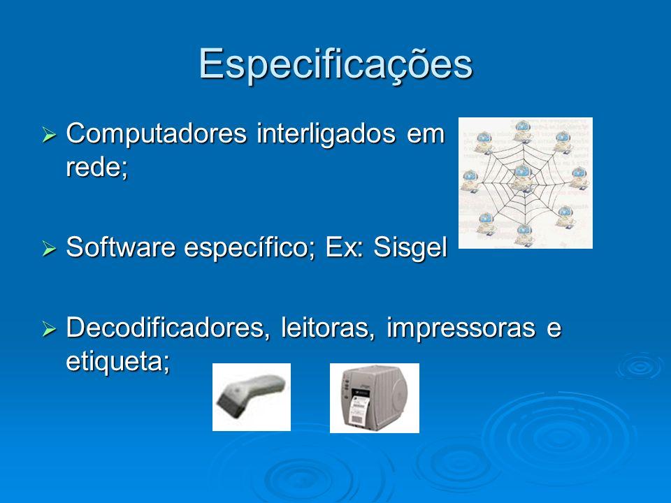 Especificações Computadores interligados em rede; Computadores interligados em rede; Software específico; Ex: Sisgel Software específico; Ex: Sisgel D