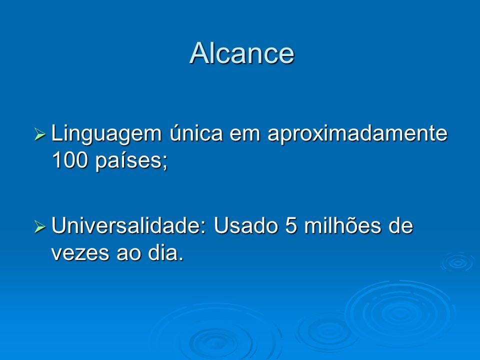 Alcance Linguagem única em aproximadamente 100 países; Linguagem única em aproximadamente 100 países; Universalidade: Usado 5 milhões de vezes ao dia.