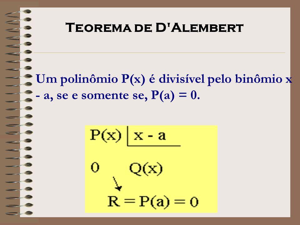 Um polinômio P(x) é divisível pelo binômio x - a, se e somente se, P(a) = 0. Teorema de D'Alembert