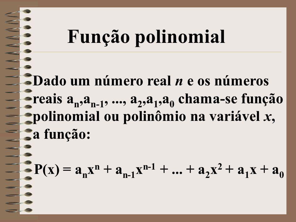 Dado um número real n e os números reais a n,a n-1,..., a 2,a 1,a 0 chama-se função polinomial ou polinômio na variável x, a função: P(x) = a n x n +