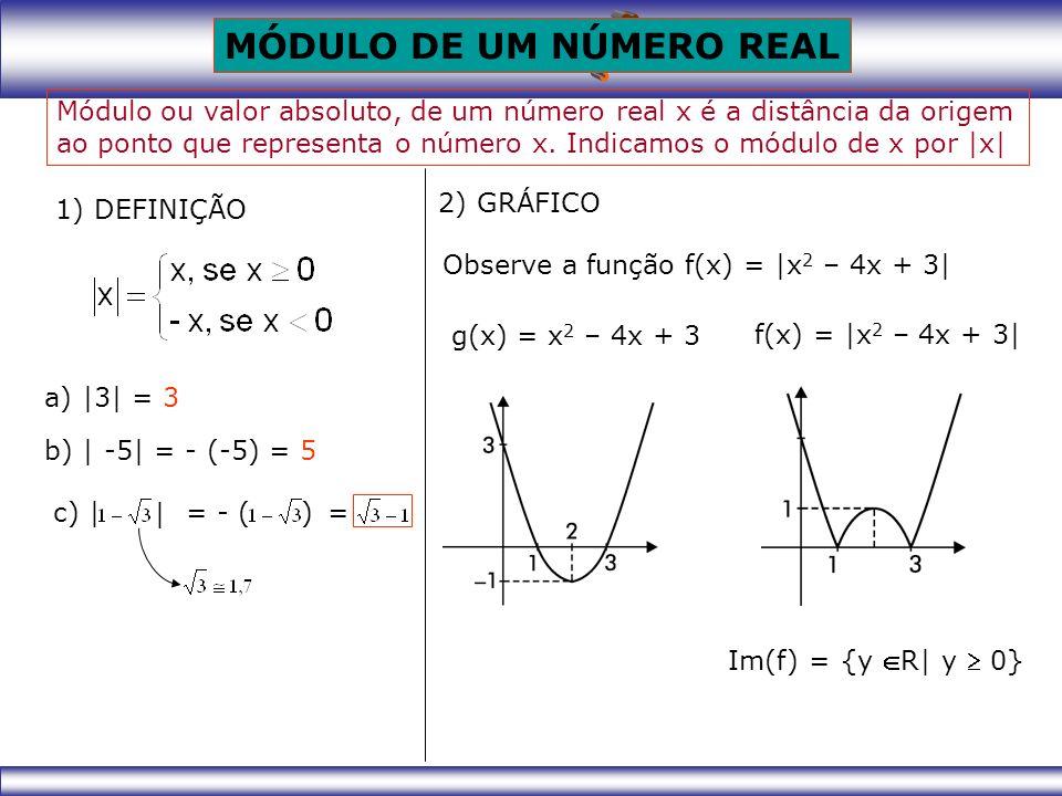 MÓDULO DE UM NÚMERO REAL 1) DEFINIÇÃO Módulo ou valor absoluto, de um número real x é a distância da origem ao ponto que representa o número x.