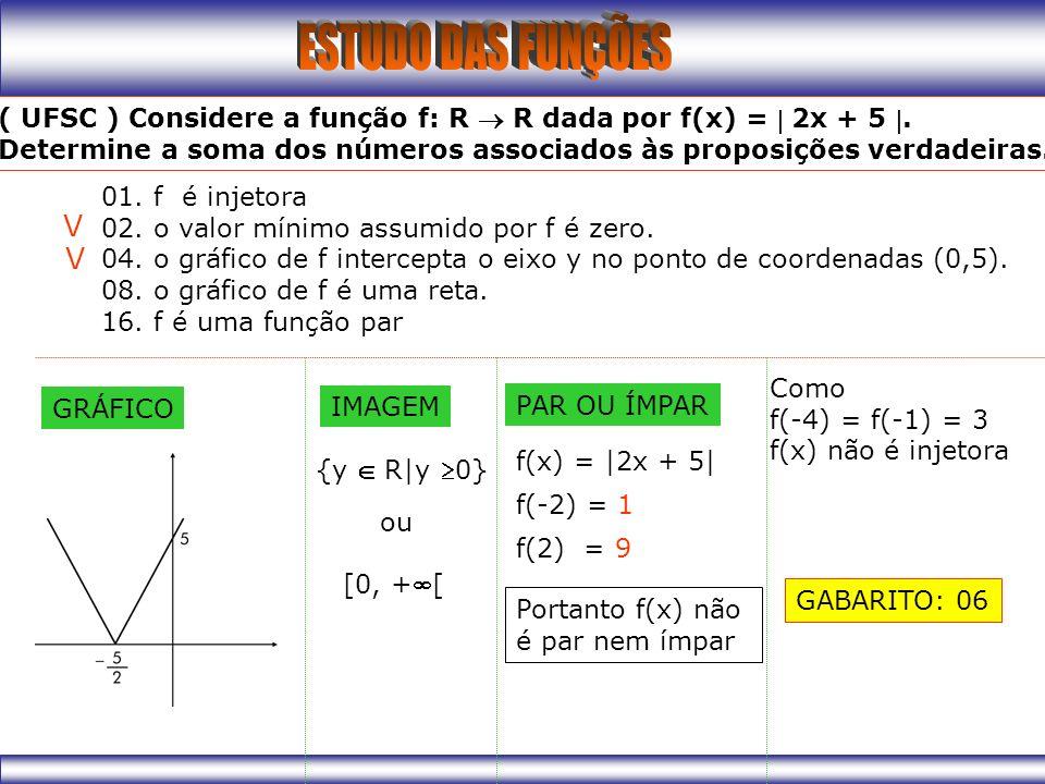 01.f é injetora 02. o valor mínimo assumido por f é zero.
