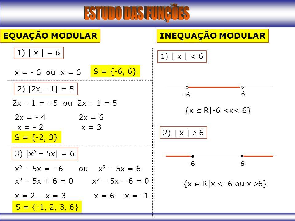 EQUAÇÃO MODULAR 1) | x | = 6 x = - 6 ou x = 6 2) |2x – 1| = 5 2x – 1 = - 5 ou 2x – 1 = 5 2x = - 4 x = - 2 2x = 6 x = 3 3) |x 2 – 5x| = 6 x 2 – 5x = - 6 ou x 2 – 5x = 6 x 2 – 5x + 6 = 0 x = 2 x = 3 x 2 – 5x – 6 = 0 x = 6 x = -1 S = {-2, 3} S = {-6, 6} S = {-1, 2, 3, 6} INEQUAÇÃO MODULAR 1) | x | < 6 -6 6 {x R|-6 <x< 6} 2) | x | 6 -6 6 {x R|x -6 ou x 6}