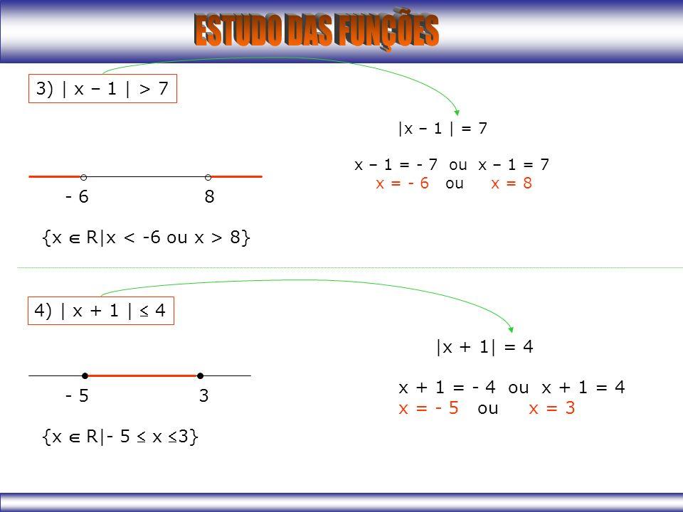 3) | x – 1 | > 7 |x – 1 | = 7 x – 1 = - 7 ou x – 1 = 7 x = - 6 ou x = 8 - 6 8 {x R|x 8} 4) | x + 1 | 4 |x + 1| = 4 x + 1 = - 4 ou x + 1 = 4 x = - 5 ou x = 3 - 5 3 {x R|- 5 x 3}