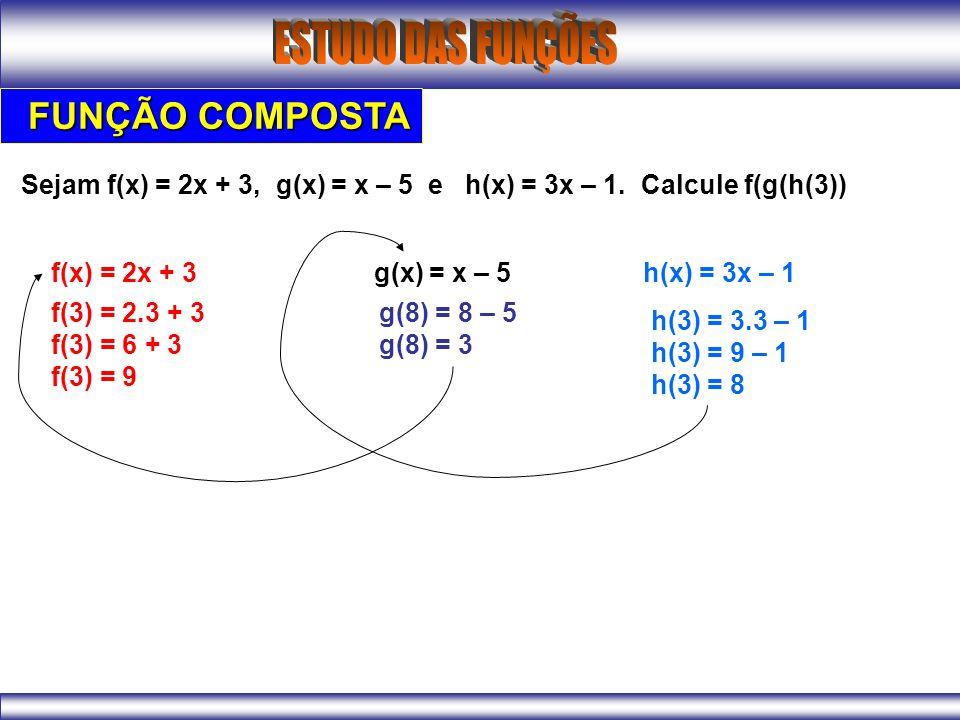 FUNÇÃO COMPOSTA Sejam f(x) = 2x + 3, g(x) = x – 5 e h(x) = 3x – 1.