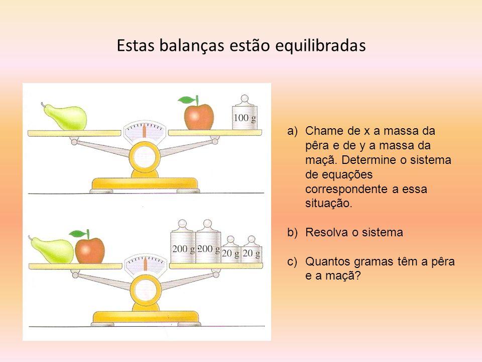 Estas balanças estão equilibradas a)Chame de x a massa da pêra e de y a massa da maçã. Determine o sistema de equações correspondente a essa situação.