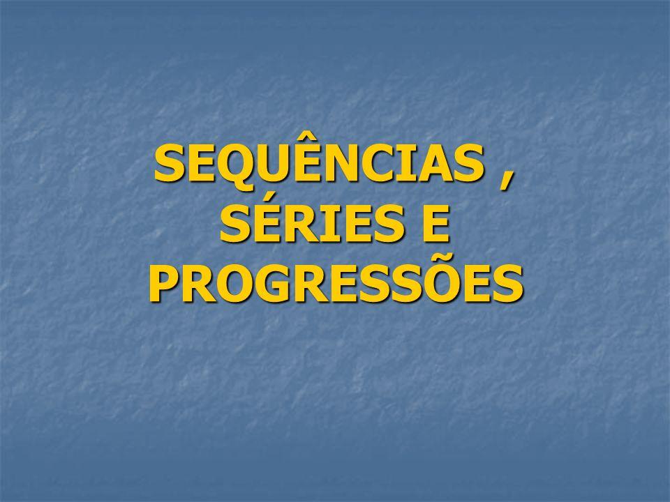 SEQUÊNCIAS Na linguagem do dia-a-dia, o termo sequência significa uma sucessão de coisas em uma ordem determinada (cronológica, de tamanho, ou lógica).