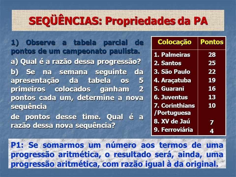 SEQÜÊNCIAS: Propriedades da PA 1) Observe a tabela parcial de pontos de um campeonato paulista. a) Qual é a razão dessa progressão? b) Se na semana se