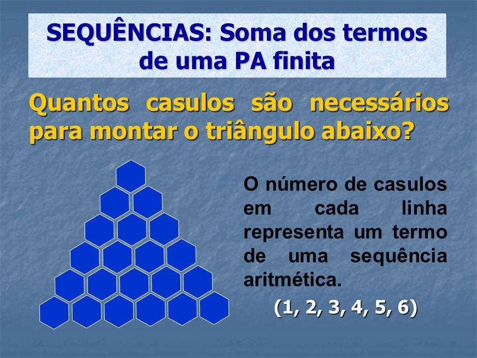 S 6 =[(1 + 6).6]/2 = 21 S n = [(a 1 + a n ).n]/2 SEQUÊNCIAS: Soma dos termos de uma PA finita