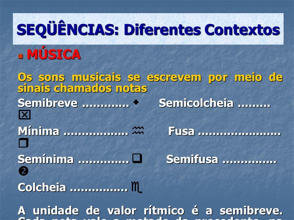 MÚSICA MÚSICA Os sons musicais se escrevem por meio de sinais chamados notas Semibreve............. Semicolcheia......... Semibreve............. Semic